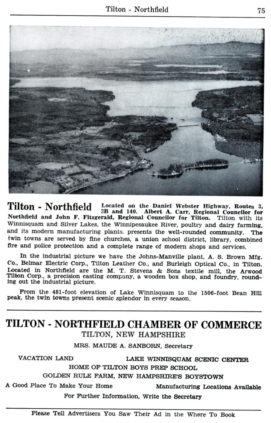 Tilton New Hampshire Visitors Guide - 1954