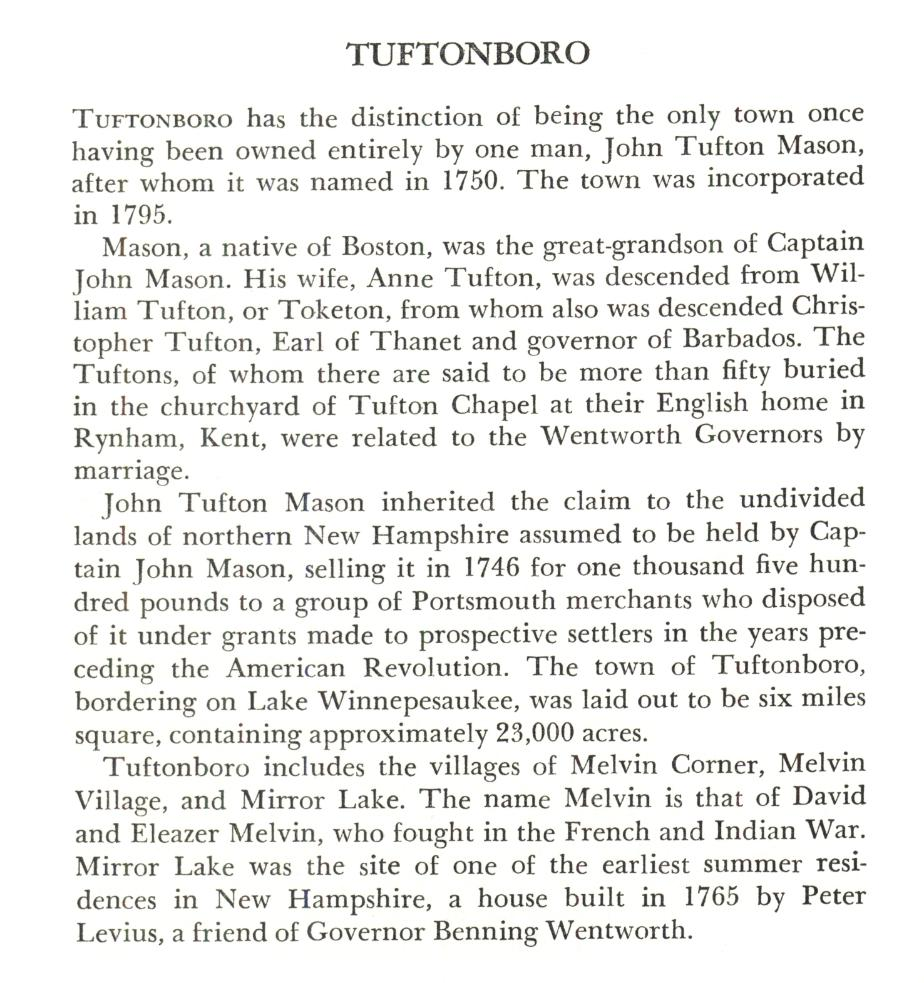 Tuftonborough New Hampshire Town Name Origin