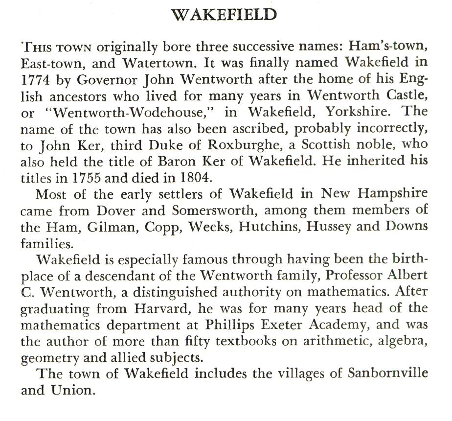 Wakefield New Hampshite Town Name Origin