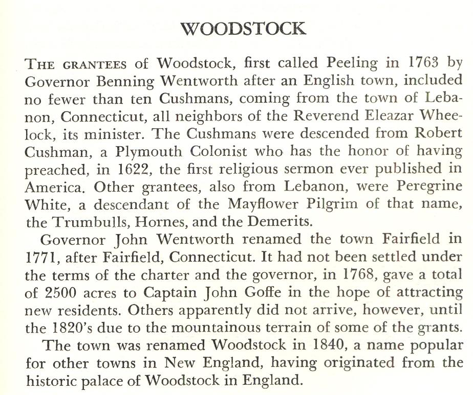 Woodstock New Hampshire Town Name Origin