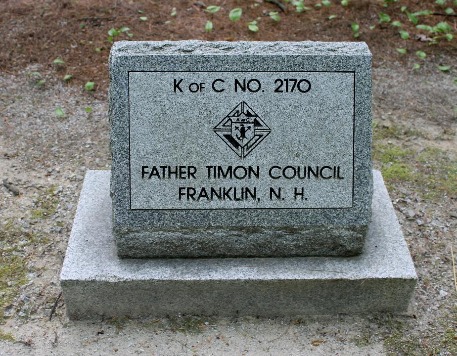 New Hampshire State Veterans Cemetery - Father Timon Council 2170 Knights of Columbus Memorial