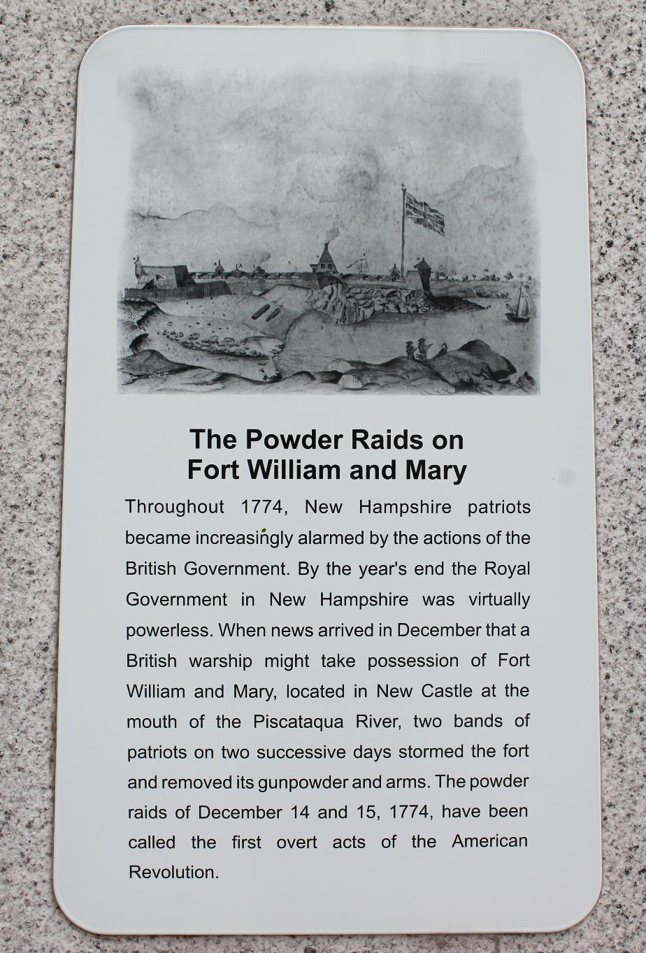 NH State Veterans Cemetery - The Powder Raids on Fort William & Mary