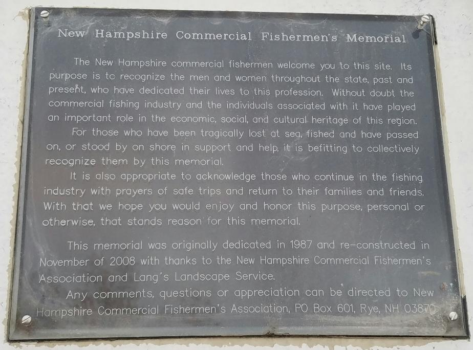 NH Commercial Fisherman's Memorial- Pierce Island Portsmouth