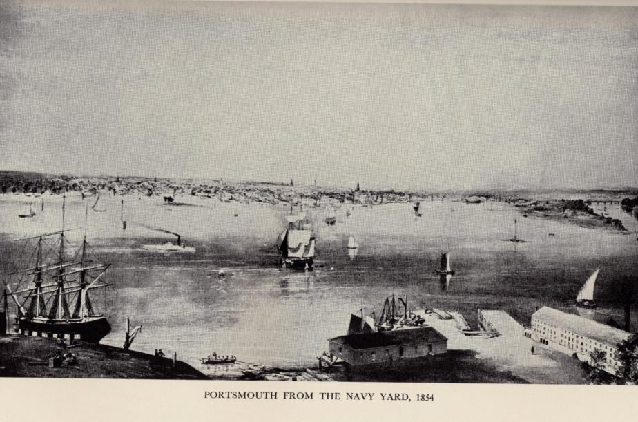 Portsmouth NH from the Navy Yard, 1854