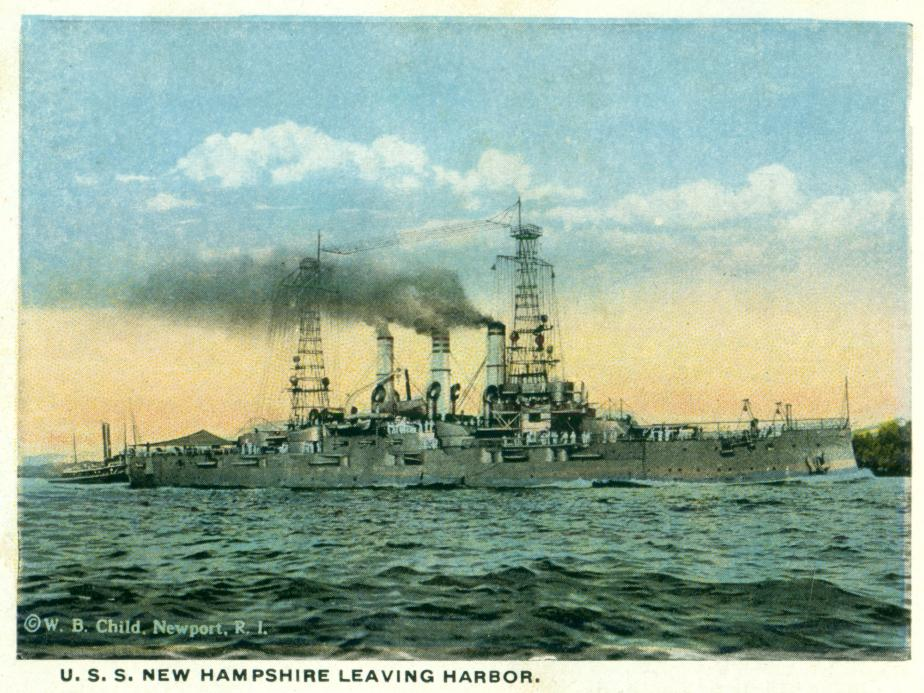 USS New Hampshire Leaving Harbor - Portsmouth NH Postcard 1920