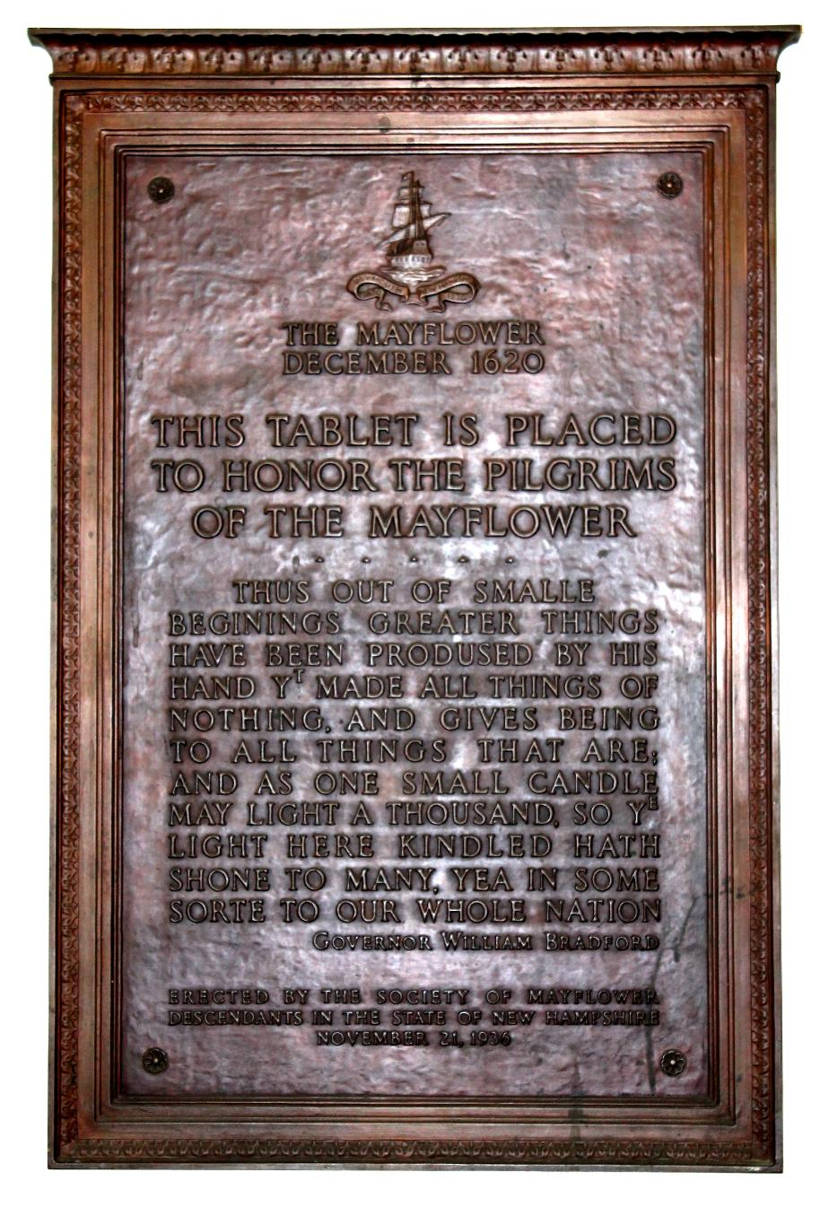 Mayflower Dedication Tablet - NH State House