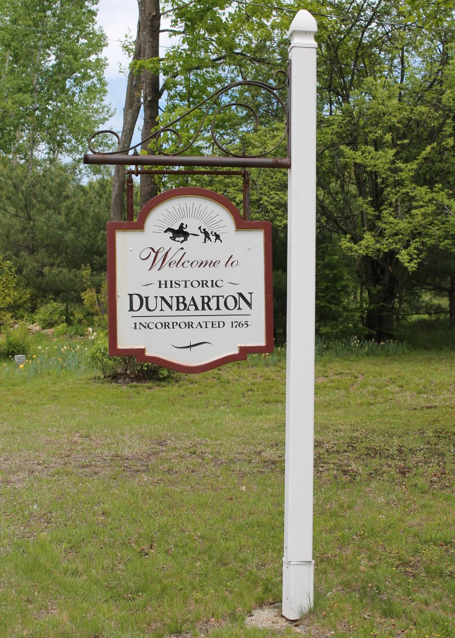 Dunbarton NH Town Welcome Sign