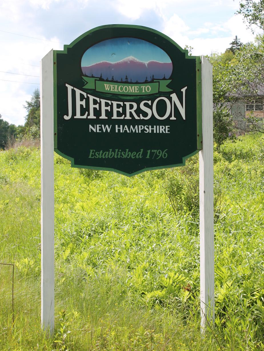 Jefferson New Hampshire Welcome Sign