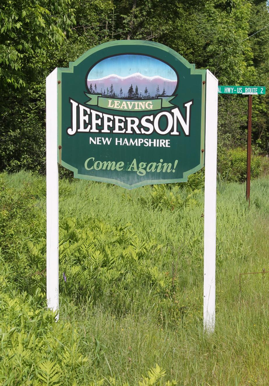 Leaving Jefferson New Hampshire Sign