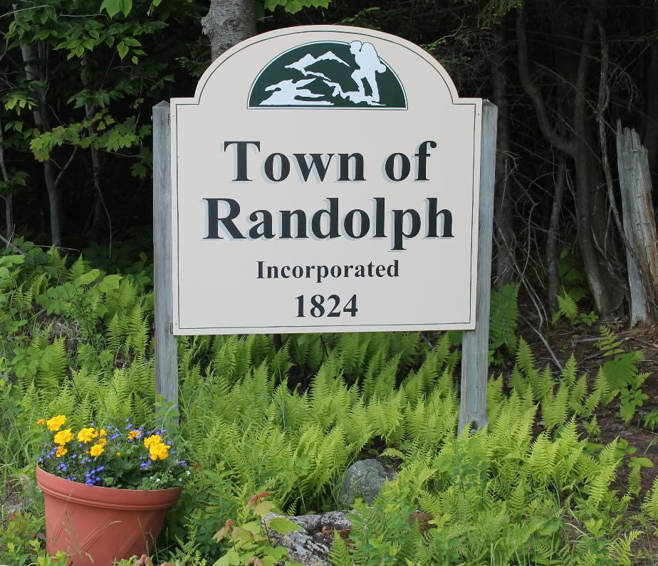 Randolph New Hampshire Town Welcome Sign