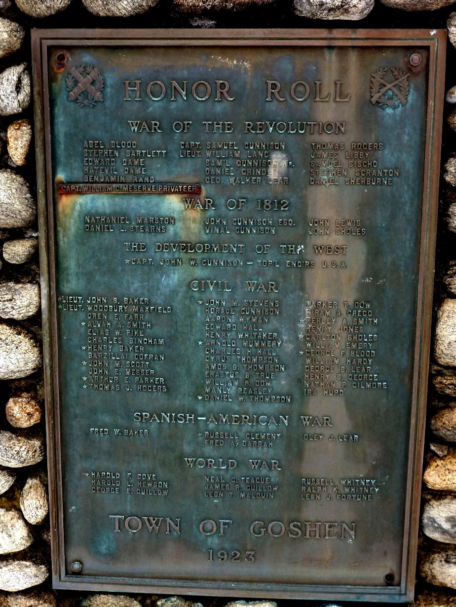 Goshen NH Military Honor Roll