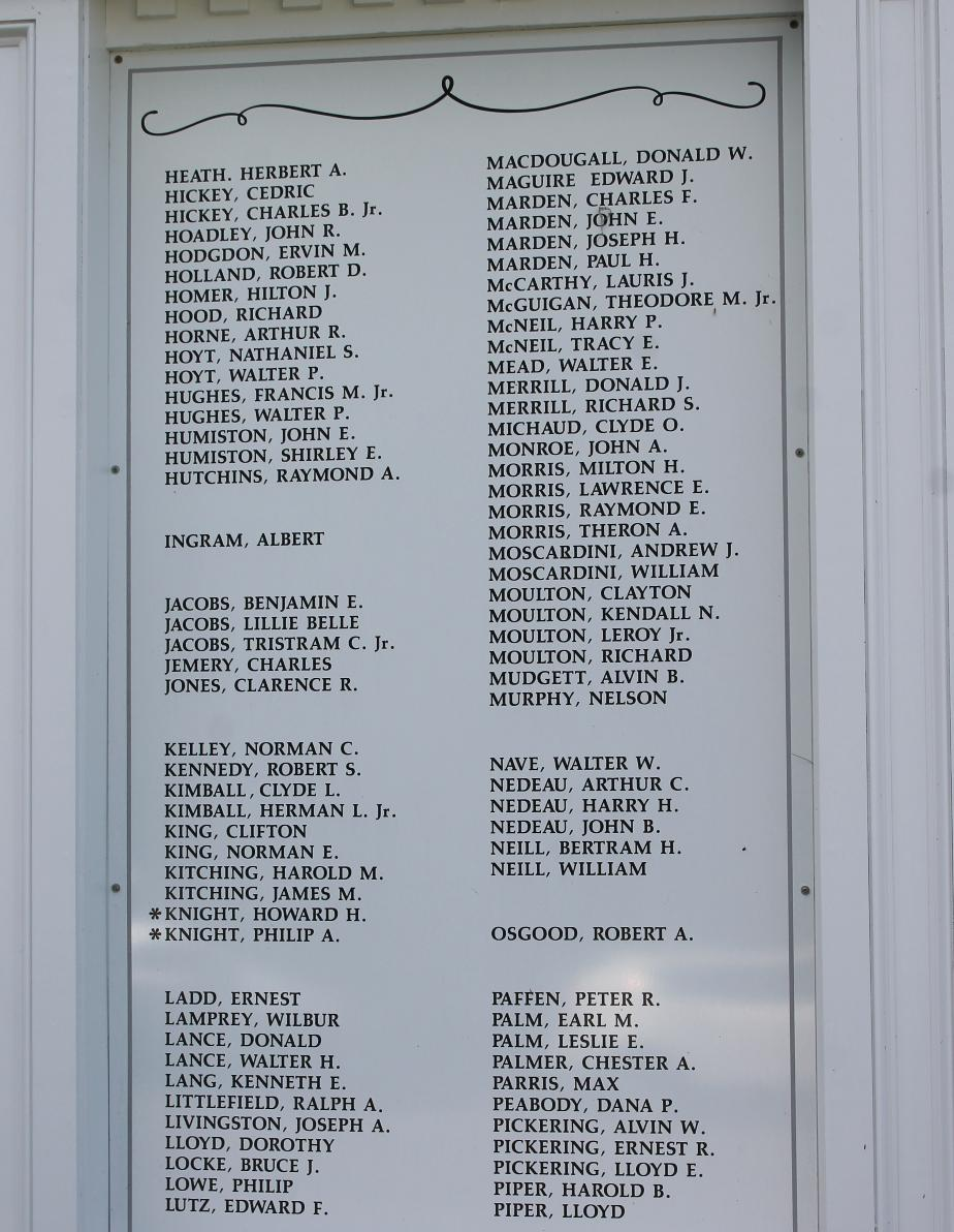 Meredith New Hampshire World War II Veterans Honor Roll