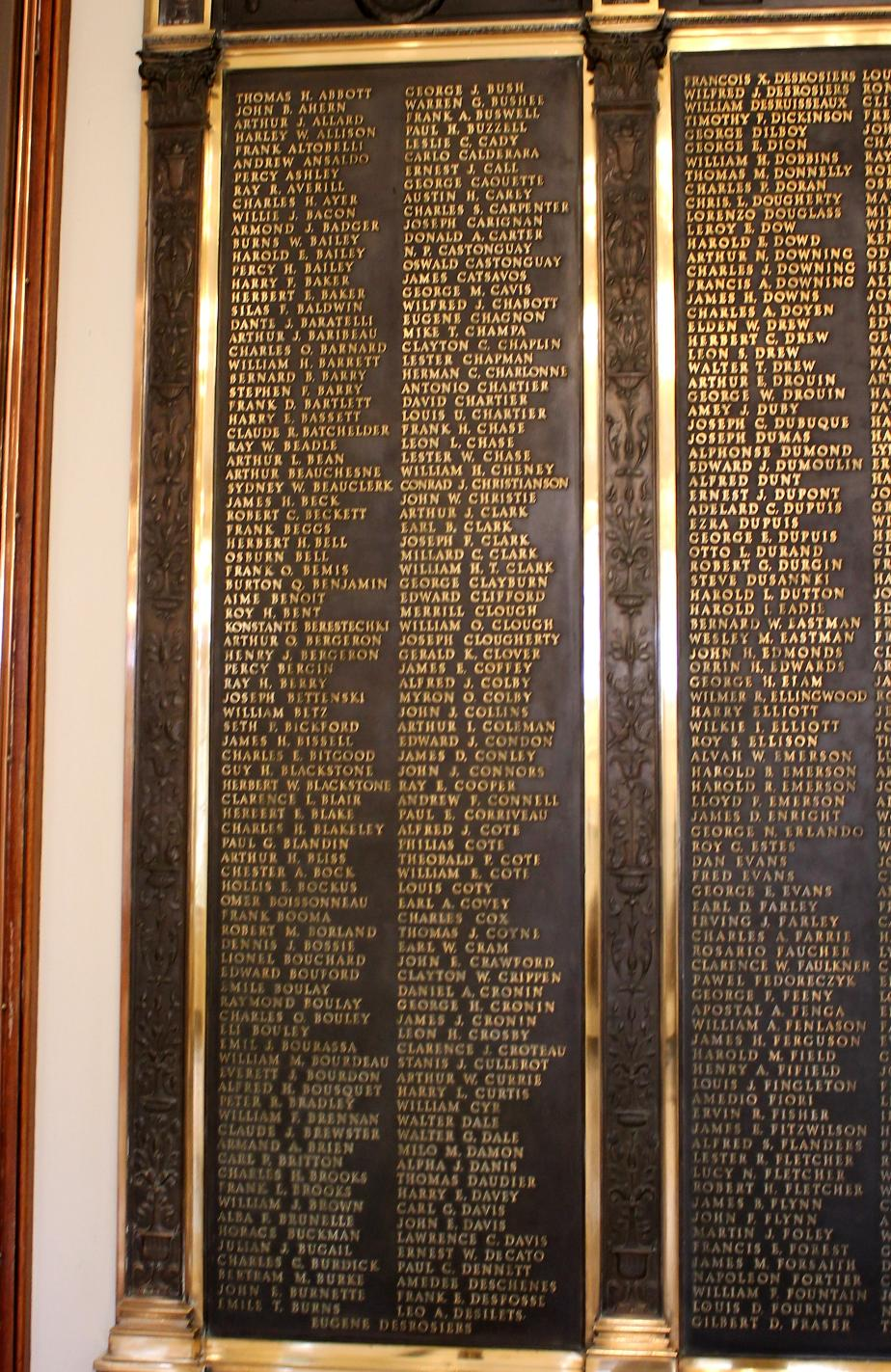 New Hampshire World War I Veterans Honor Roll - New Hampshire State House
