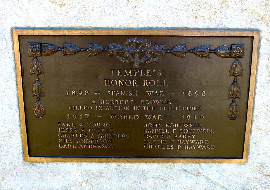 Temple NH Spanish American War & WWI  Veterans Honor Roll