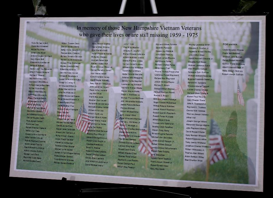 List of Vietnam Veterans from New Hampshire who gave their lives or still missing