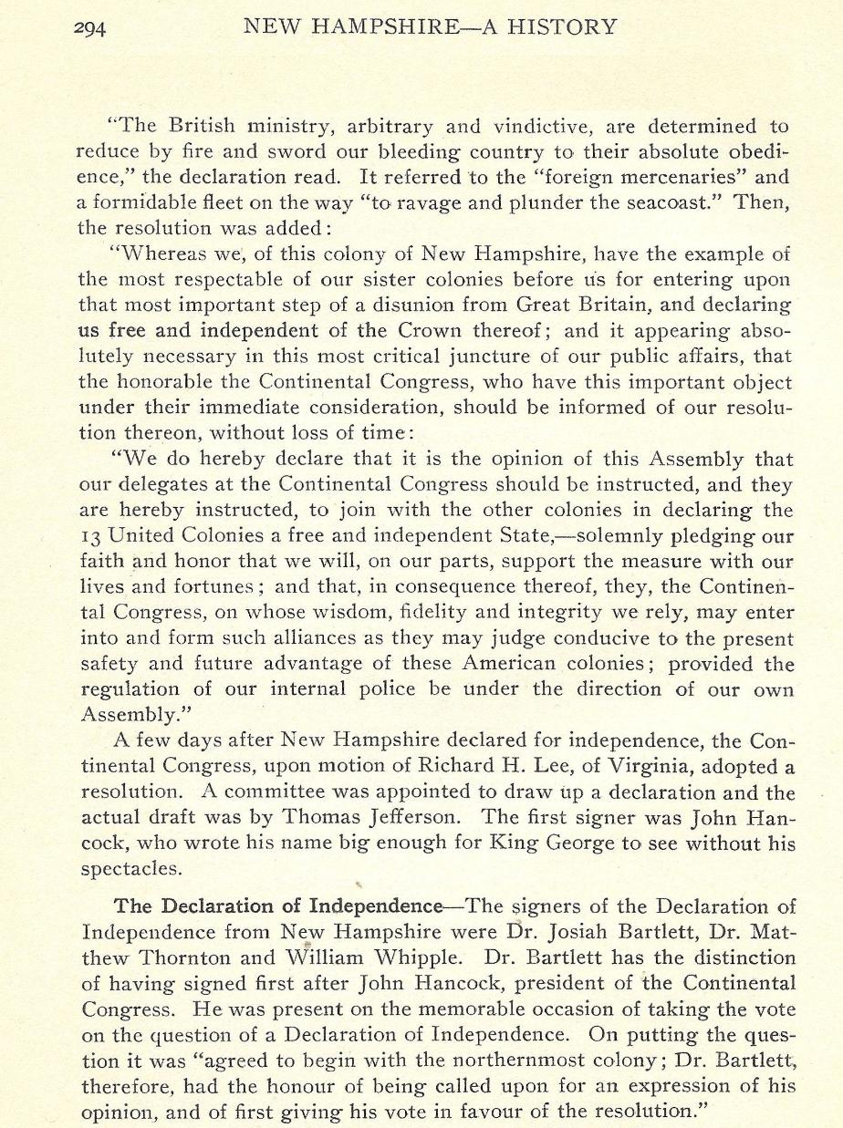 New Hampshire Declaration of Independence